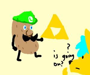 Potato Luigi w/ the Triforce
