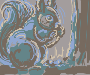 Squirrel Buries a Nut