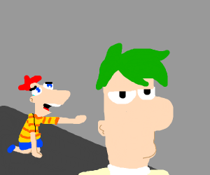 Phineas crying out to Ferb