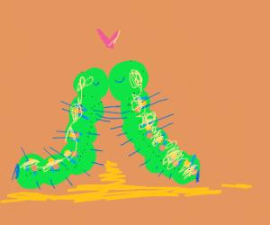 2 caterpillars hugging