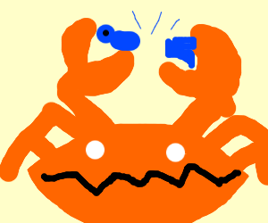 A giant crab rips blue human in half?!?!?!!?