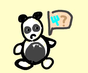 Panda wondering where's his fork