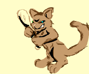 gangsta cat with a baseball bat