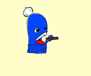 Blue hat eating kitkat