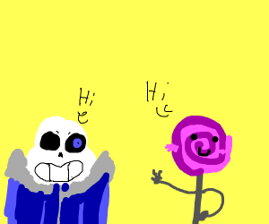 sans and a loli greet each other