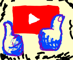 subscribe play button with thumbs up