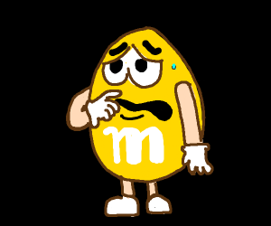 yellow m&m looks a bit frightened