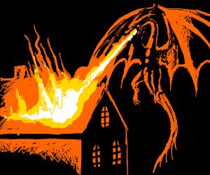 Dragon burning a mansion