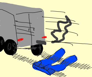 a truck runing over pants