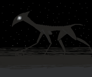 Glow-eyed, spindly razorback insectoid coyote