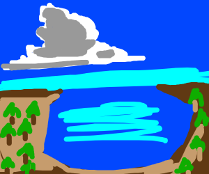 Forest surrounding a lake