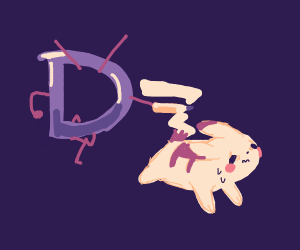 Drawception D attacks Pikachu with a pencil