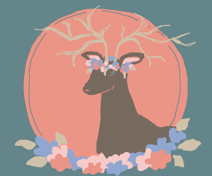 a deer with antlers and a flower crown