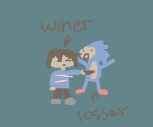 frisk from undertale has killed sonic