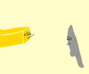 Salted butter has a staredown with a knife.