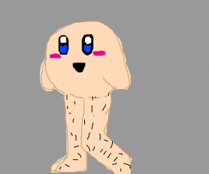 skin colored kirby with long hairy legs