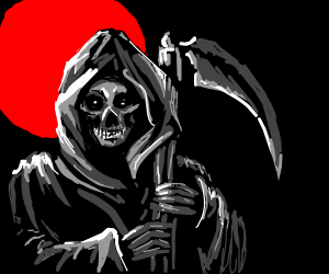 Bloody Grim Reaper grins ominously