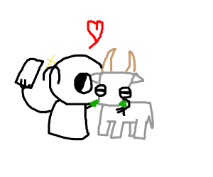 a person with their goat best friend