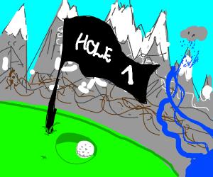 Golf hole next to mountains