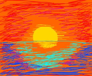 island with layered . sunset