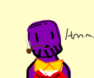 Thanos is smoking a pipe and reading a book