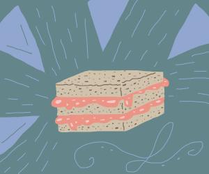 Nice double decker jam sandwich