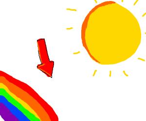 Downwards arrow near the sun white & rainbow