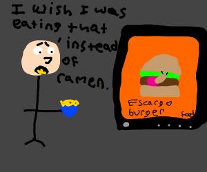 Hungry man watching TV