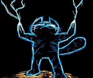 trippy blue lighting cat