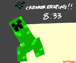 Minecraft creaper escaping from drawception