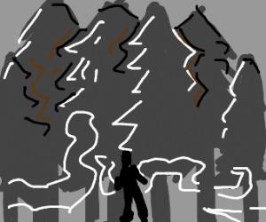 Figure walks through forest mist