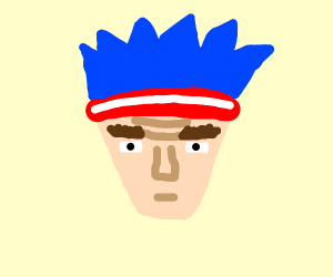 Dude with blue hair & a red sweatband