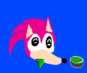 Pink Sonic likes Salad.