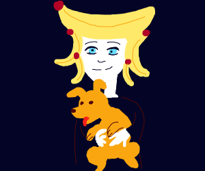 Person with banana for hair hugs orange dog