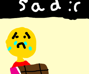 Man crying over a chocolate bar