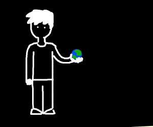 Guy holding little Earth