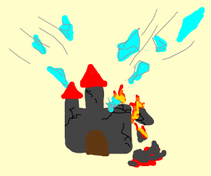 Flying crystallized rock destroys smol castle