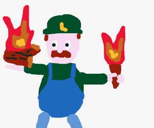Luigi holding a torch with a campfire
