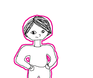 man with pink outline
