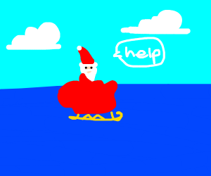 santa in the sea