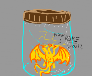 A three-headed dragon trapped in a jar