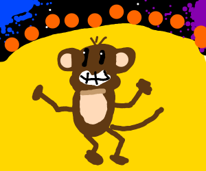 Happy monkey dancing in the sun