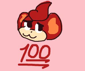 """Pansear (Pokemon) head with """"1,000"""" under it"""