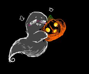 Halloween cute ghost and pumpkin !!