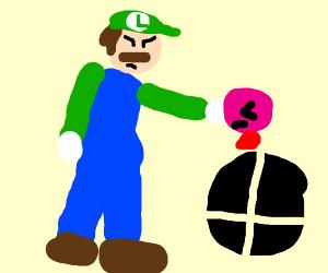 Luigi punching Kirby