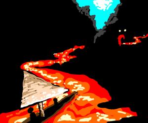 sailboat sailing on lava