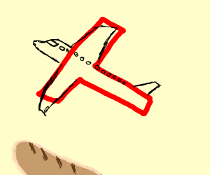 A plane flying over a french baguette