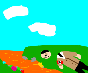 Hitler decapitated next to an orange river be