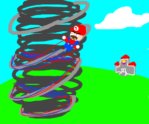 Mario sucked into tornado