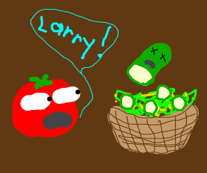 Tomato from veggie-tales sees salad of friend